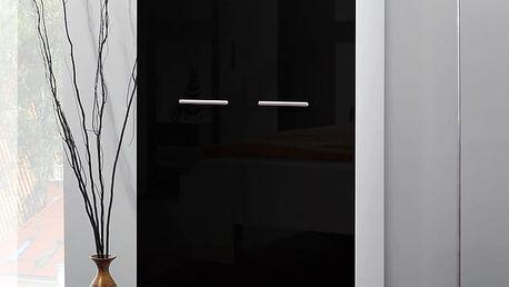 Šatní skříň 2D, bílá matná/černý lesk