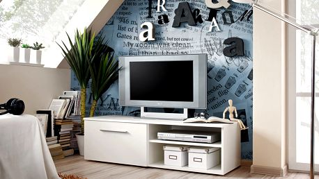 RTV stolek BONO I, bílá matná/bílý lesk