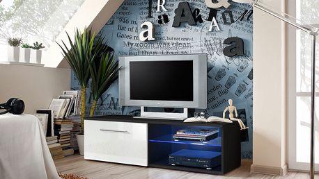RTV stolek BONO IV, černá matná/bílý lesk
