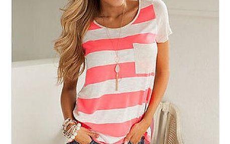 Dámské pruhované triko s kapsičkou - 2 barvy