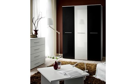 Šatní skříň BIG, bílá matná/černý lesk a bílá matná