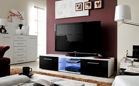 RTV stolek BONO III, bílá matná/černý lesk