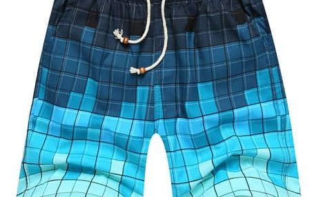 Pánské kostičkové kraťasy v modré barvě