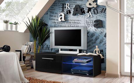 RTV stolek BONO IV, černá matná/černý lesk