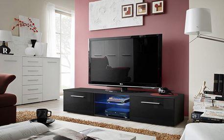 RTV stolek BONO III, černá matná/černý lesk