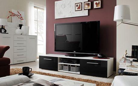 RTV stolek BONO II, bílá matná/černý lesk