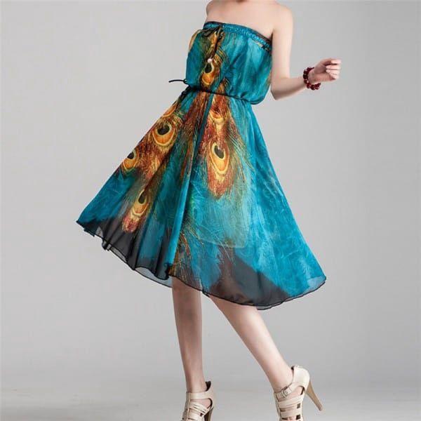 Dlouhá sukně ala šaty s pavími pery - různé velikosti