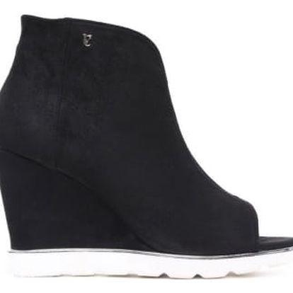 Dámské černé sandály na klínku Raylon 1132