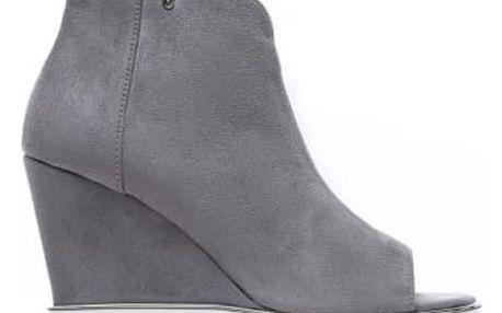 Dámské tmavě šedé sandály na klínku Raylon 1132