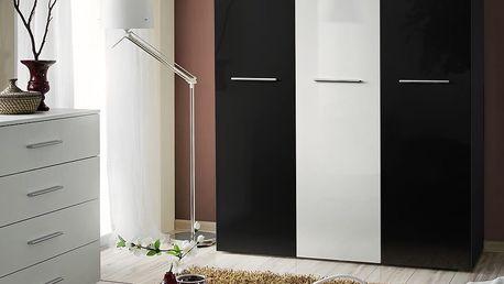 Šatní skříň BIG, černá matná/černý a bílý lesk