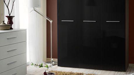 Šatní skříň BIG, švestka/černý lesk