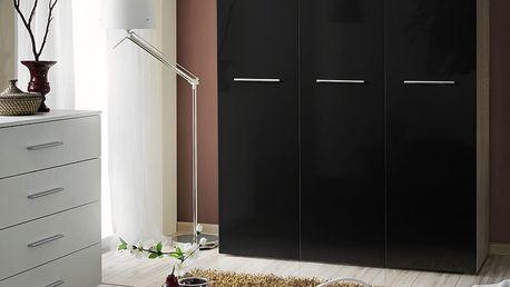 Šatní skříň BIG, dub sonoma/černý lesk