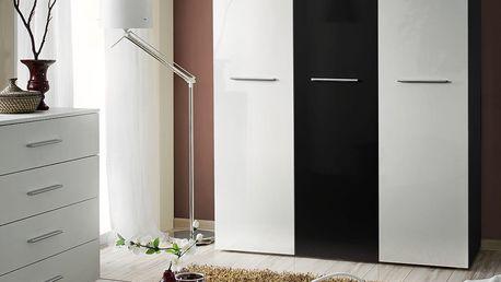 Šatní skříň BIG, černá matná/bílý a černý lesk