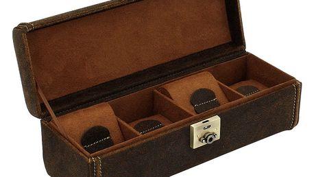 Hnědý box na čtyři hodinky Friedrich Lederwaren Cubano - doprava zdarma!