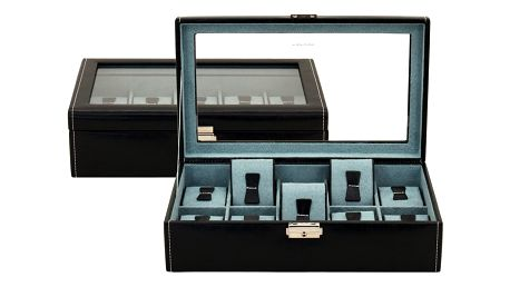 Černý box na deset hodinek Friedrich Lederwaren Bond - doprava zdarma!