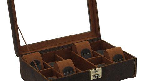 Hnědý box na osm hodinek Friedrich Lederwaren Cubano - doprava zdarma!
