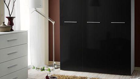 Šatní skříň BIG, bílá matná/černý lesk