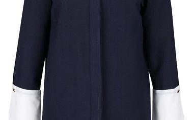 Tmavě modrá dlouhá halenka s bílými manžetami Closet