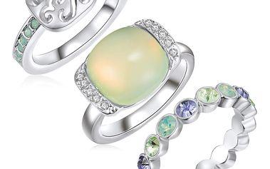 Sada 3 prstenů s krystaly Swarovski Lilly & Chloe Océane, vel. 54