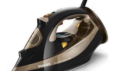 Žehlička Philips Azur Performer Plus GC4527/00 černá/zlatá Žehlicí prkno Vileda Viva Express Basic (zdarma) + Doprava zdarma