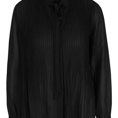 Černá plisovaná propínací halenka s vázankou a dlouhými rukávy Miss Selfridge