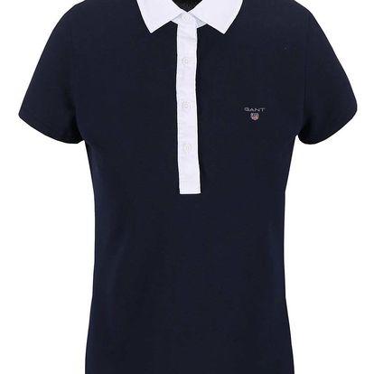 Tmavě modré dámské polo tričko s bílými lemy GANT