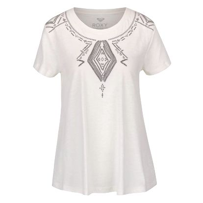 Krémové tričko s vyšitými ornamenty Roxy Point