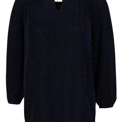 Černo-modrá třpytivá volnější halenka s 3/4 rukávy Dorothy Perkins