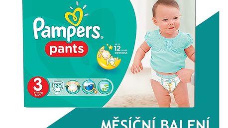 PAMPERS Pants 3, 120 ks (6-11 kg) MEGA Box, MĚSÍČNÍ ZÁSOBA - plenkové kalhotky