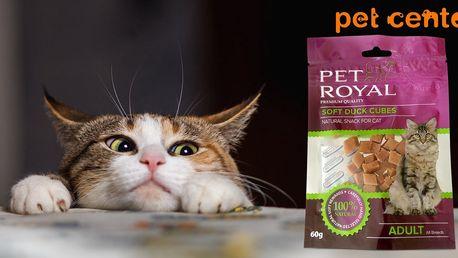 Mňamka pro kočky: 2x kachní kostky Pet Royal