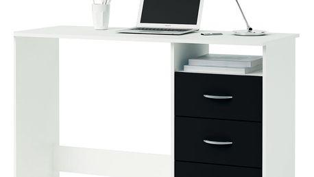 Psací stůl perleťově bílá/černá