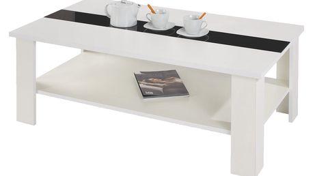 Konferenční stolek bílý se sklem