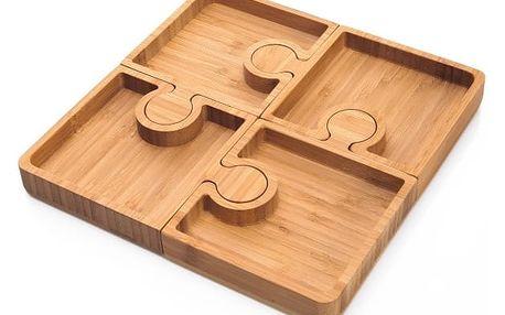 Bambusové servírovací podnosy Bambum Karo Puzzle
