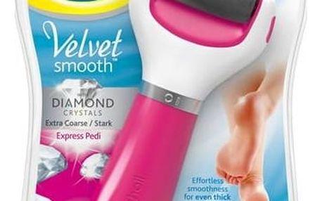 Elektrický pilník na chodidla Scholl Velvet Smooth Diamond Extra hrubý růžová Antiperspirant na nohy Scholl Fresh Step 150 ml (zdarma)