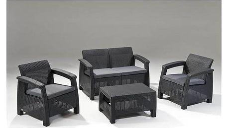 Ratanový nábytek Keter Corfu antracit + Houpačka CUBS dřevěná s ohrádkou v hodnotě 199 KčZahradní gril kulatý SportTeam 35cm + Doprava zdarma