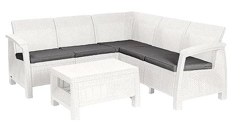 Ratanový nábytek Allibert Corfu relax šedý/bílý + Houpačka CUBS dřevěná s ohrádkou v hodnotě 199 KčZahradní gril kulatý SportTeam 35cm + Doprava zdarma