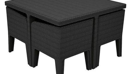 Ratanový nábytek Allibert Columbia 5 grafit šedý + Houpačka CUBS dřevěná s ohrádkou v hodnotě 199 KčZahradní gril kulatý SportTeam 35cm + Doprava zdarma