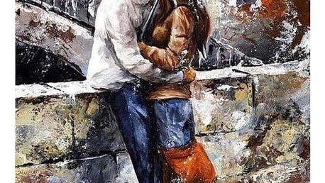 Bezrámový nedokončený obraz 40 x 50 cm - Láska v dešti