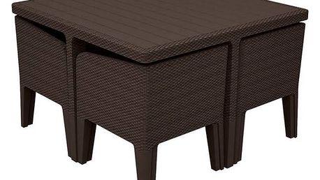 Ratanový nábytek Allibert Columbia 5 hnědý/béžový + Houpačka CUBS dřevěná s ohrádkou v hodnotě 199 KčZahradní gril kulatý SportTeam 35cm + Doprava zdarma