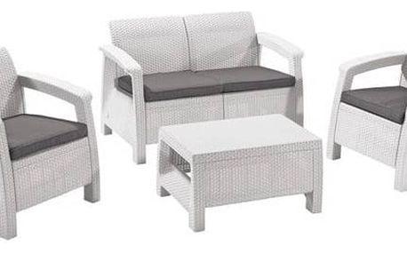 Ratanový nábytek Allibert CORFU white + grey bílý + Houpačka CUBS dřevěná s ohrádkou v hodnotě 199 KčZahradní gril kulatý SportTeam 35cm + Doprava zdarma