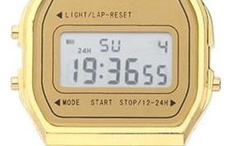 Digitální retro hodinky ve zlaté nebo stříbrné barvě