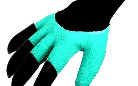 Praktické zahradní rukavice s plastovými drápy. Plastové drápy okamžitě nahradí ruční nářadí.
