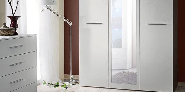 Šatní skříň se zrcadlem BIG, bílá matná/bílý lesk