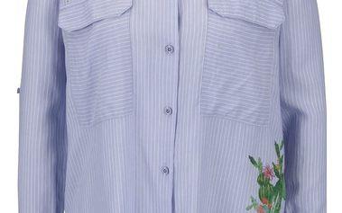 Světle modrá košile s potiskem květů a kaktusů Desigual Miriam