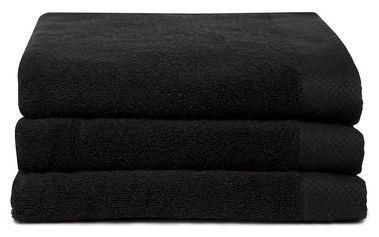 Sada 3 černých ručníků Seahorse Pure,60x110cm