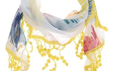 Bílý šátek s barevným vzorem Desigual