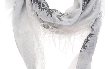 Krémový šátek s šedými ornamenty Desigual White Silve