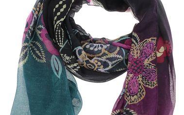 Fialovo-černý vzorovaný šátek Desigual Wow