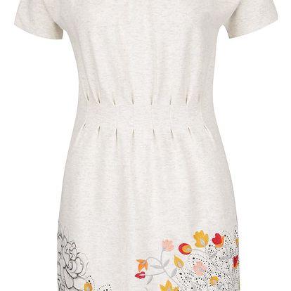 Krémové žíhané šaty s motivem květin Desigual Crudo