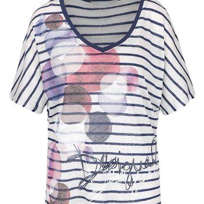Modro-krémové lněné tričko Desigual Uxía